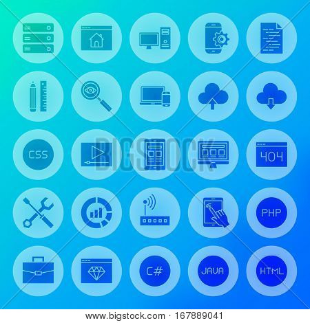 Coding Solid Circle Icons. Vector Illustration of Programming Glyphs over Blurred Background.