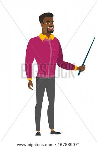 African-american businessman holding pointer stick. Full length of businessman with pointer stick. Businessman pointing with pointer stick. Vector flat design illustration isolated on white background