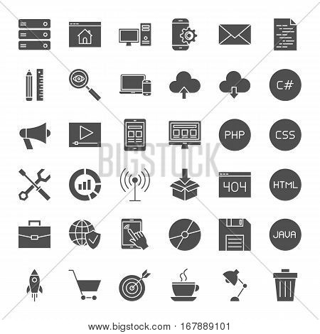 Coding Solid Web Icons. Vector Collection of Modern Programming and Website Development Glyphs.