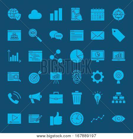 Development Web Glyphs Icons. Vector Set of SEO Symbols.