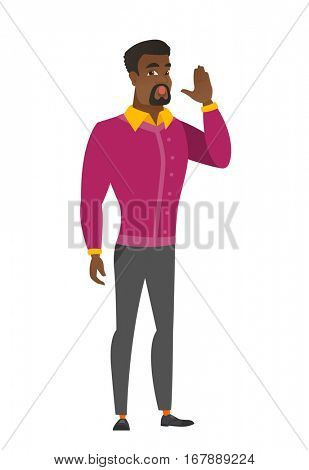 African business man lost and calling for help. Full length of business man calling for help. Business man in trouble calling for help. Vector flat design illustration isolated on white background.