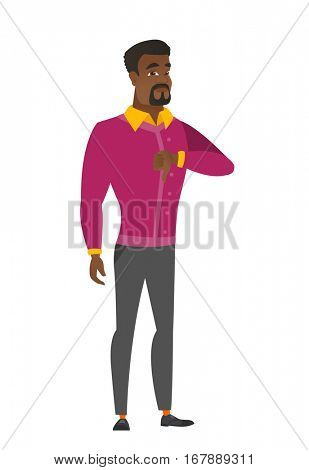 Disappointed african business man with thumb down. Full length of businessman showing thumb down. Young business man with his thumb down. Vector flat design illustration isolated on white background