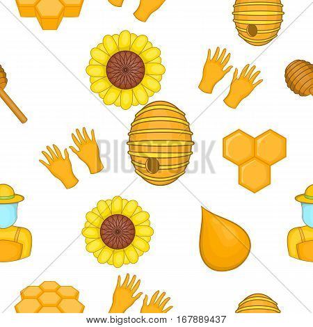 Apiary pattern. Cartoon illustration of apiary vector pattern for web
