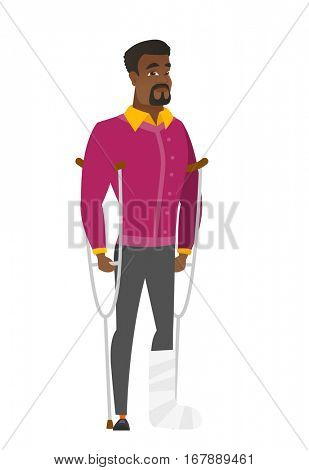 Injured african businessman with broken leg on crutches. Businessman with broken leg in bandages. Full length of man with broken leg. Vector flat design illustration isolated on white background.