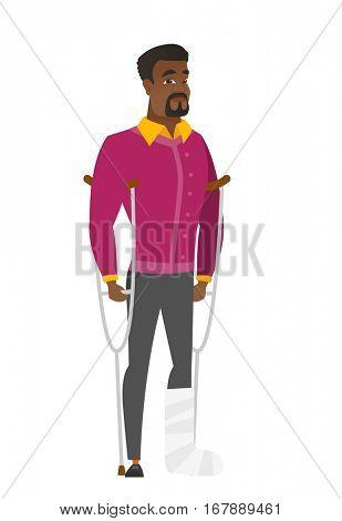 Injured african businessman with broken leg on crutches. Businessman with broken leg in bandages. Full length of man with broken leg. Vector flat design illustration isolated on white background.