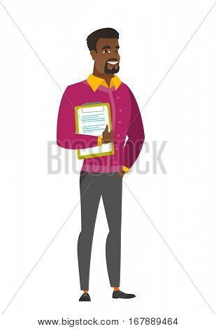 African-american businessman holding clipboard with documents. Full length of businessman with documents. Businessman holding documents. Vector flat design illustration isolated on white background.