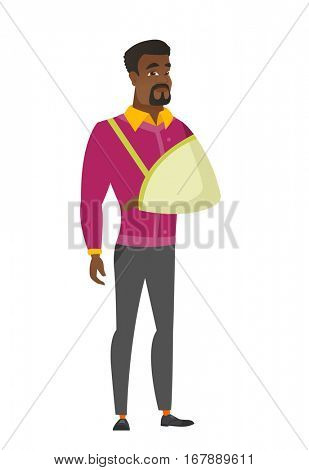 An injured african businessman wearing an arm brace. Businessman with broken arm in sling. Full length of business man with broken arm. Vector flat design illustration isolated on white background.