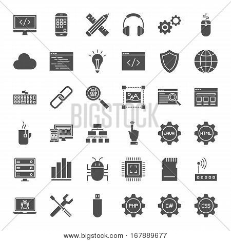 Programming Solid Web Icons. Vector Collection of Modern Coding and Website Development Glyphs.