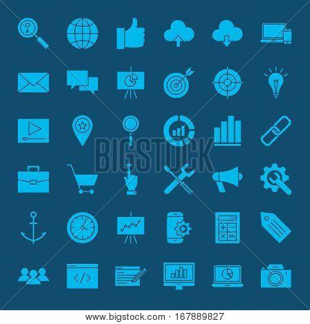 SEO Glyphs Web Icons. Vector Set of Website Development Symbols.
