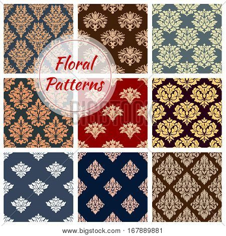 Flowery Damask ornament patterns set. Seamless flourish ornate baroque vector tiles. Floral embellishment motif and ornamental tracery. Luxury royal flowers ornamental adornment backdrop for interior design