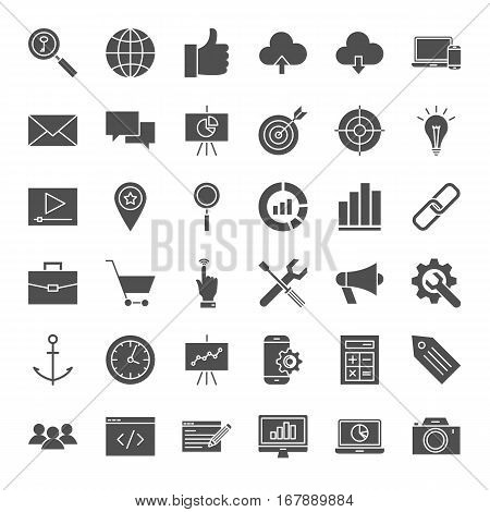 SEO Solid Web Icons. Vector Collection of Website Development Glyphs.