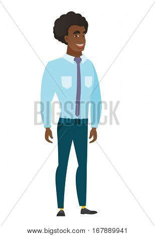 Young caucasian happy businessman. Full length of smiling happy businessman posing. Illustration of happy standing businessman. Vector flat design illustration isolated on white background.