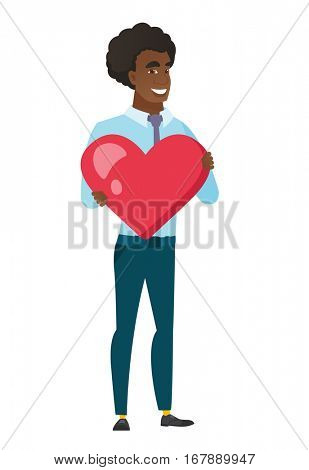 Caucasian business man showing a big red heart. Full length of young business man with heart shape. Happy business man holding a red heart. Vector flat design illustration isolated on white background