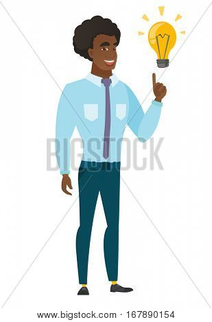 Caucasian businessman pointing at business idea light bulb. Full length of businessman having a business idea. Business idea concept. Vector flat design illustration isolated on white background.