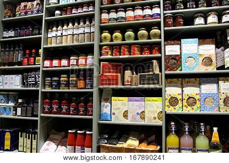 New Alresford, Uk - Jan 28 2017: Selection Of Herbs, Spices, Pickles, Sauces, Spreads, Preserves, Re