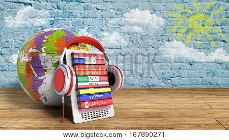 E-boock Whith Globe Audio Learning Languages 3D Illustration Image Success Knowlege Concept