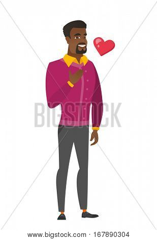 African-american business man holding hand on his chest. Full length of happy business man with hand on his chest and heart flying nearby. Vector flat design illustration isolated on white background.