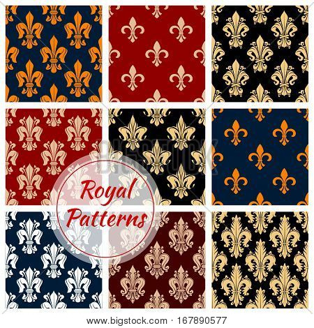 Floral fleur-de-lis royal ornament patterns set. Vector flourish seamless tile of flowery ornate baroque tracery. French heraldic lily embellishment motif of luxury imperial ornamental flowers adornment for interior design