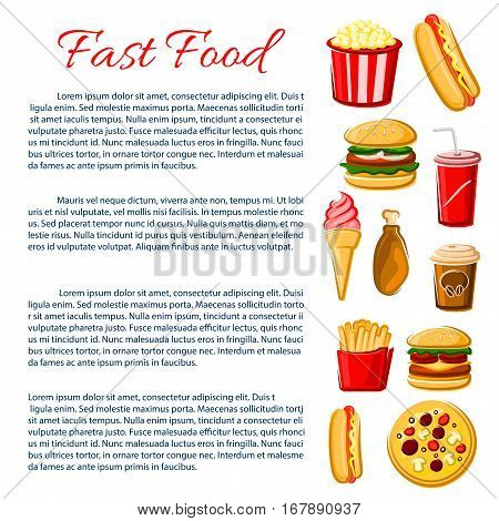 Fast Food nutrition information poster. Junk food meal of vector snacks, drinks and desserts. Burgers cheeseburger or hamburger, hot dog sandwich and french fries, pizza, chicken leg grill and popcorn, ice cream, soda and coffee