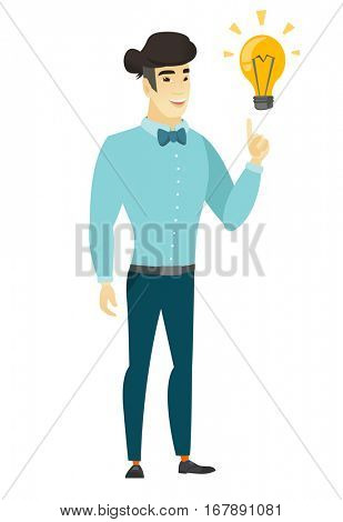 Asian  businessman pointing at business idea light bulb. Full length of businessman having a business idea. Business idea concept. Vector flat design illustration isolated on white background.