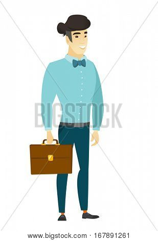 Asian  business man holding briefcase. Full length of young business man with briefcase. Widely smiling business man holding briefcase. Vector flat design illustration isolated on white background.