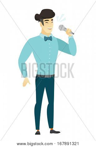 Asian businessman singing to the microphone. Full length of businessman singing with closed eyes. Happy businessman singing to the mic. Vector flat design illustration isolated on white background.