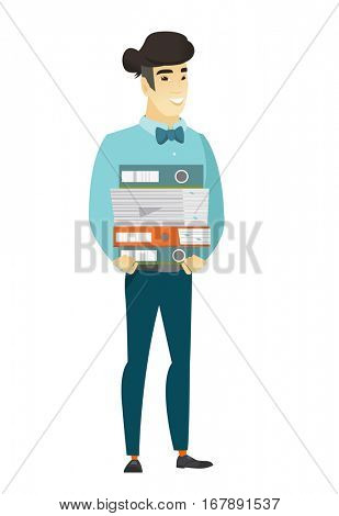 Asian businessman holding pile of folders and papers. Full length of businessman with folders. Young businessman with folders and files. Vetor flat design illustration isolated on white background.