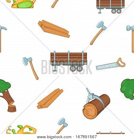 Firewood pattern. Cartoon illustration of firewood vector pattern for web
