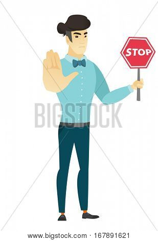 Asian  businessman showing stop road sign. Full length of businessman holding stop road sign. Serious businessman with stop road sign. Vector flat design illustration isolated on white background.