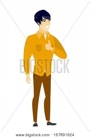 Young asian business man giving thumb up. Full length of smiling business man with thumb up. Cheerful business man showing thumb up. Vector flat design illustration isolated on white background.