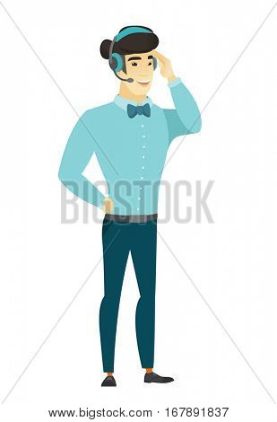 Asian customer service operator in headset with microphone. Full length of young customer service operator in headset with microphone. Vector flat design illustration isolated on white background.