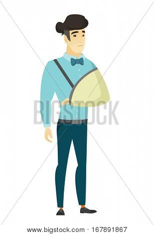 An injured asian  businessman wearing an arm brace. Businessman with broken arm in sling. Full length of business man with broken arm. Vector flat design illustration isolated on white background.