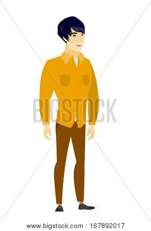 Young asian happy business man. Full length of smiling happy business man posing. Illustration of happy standing business man. Vector flat design illustration isolated on white background.