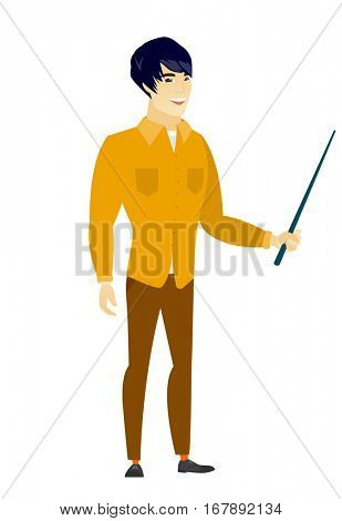 Asian businessman holding pointer stick. Full length of young businessman with pointer stick. Businessman pointing with pointer stick. Vector flat design illustration isolated on white background.