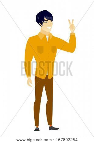 Asian businessman showing the victory gesture. Businessman showing the victory sign with two fingers. Businessman with victory gesture. Vector flat design illustration isolated on white background.