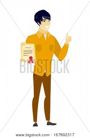Asian  businessman holding a certificate. Full length of businessman with certificate. Businessman showing certificate and thumbs up. Vector flat design illustration isolated on white background.