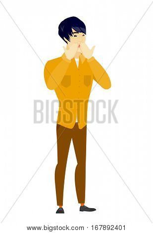 Shoked asian businessman covering his mouth with hand. Full length of shoked businessman. Businessman with a shocked facial expression. Vector flat design illustration isolated on white background.