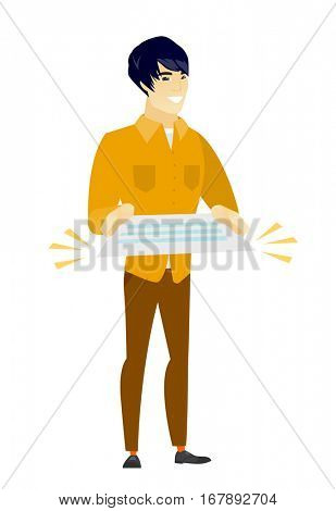 Cheerful asian  businessman holding a contract. Full length of smiling businessman with contract. Young businessman holding a contract. Vector flat design illustration isolated on white background.