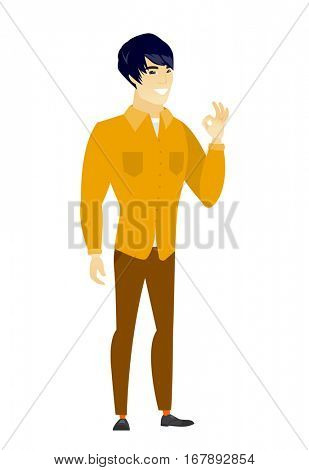 Asian smiling businessman showing ok sign. Young cheerful businessman making ok sign. Successful happy businessman gesturing ok sign. Vector flat design illustration isolated on white background.