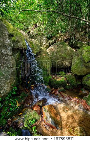 Waterfall In Nosy Mangabe, Madagascar Wilderness