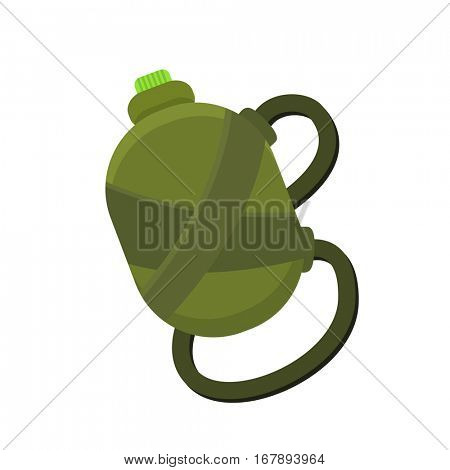 Camping or traveling green water flask isolated on a white background