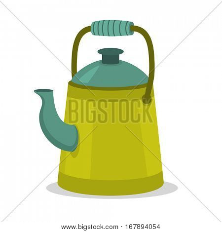 Camping green vintage kettle in flat cartoon style