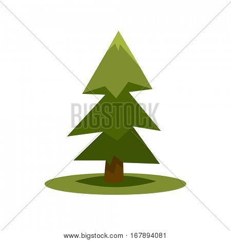 Green fir tree isolated on white in simple flat style