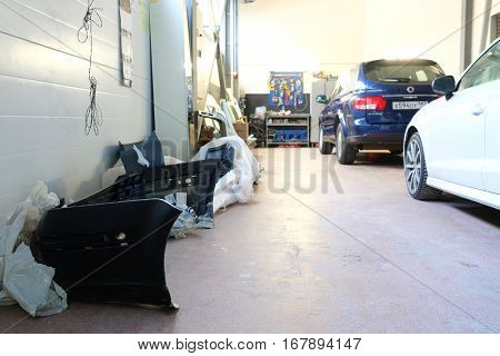 Moscow, Russia - December, 15, 2016: car in a body shop in Moscow, Russia