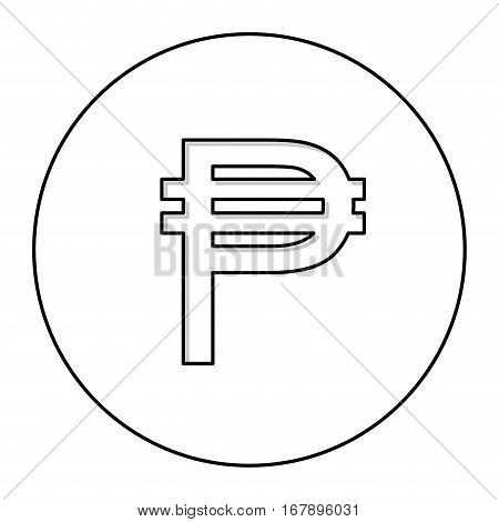monochrome contour with currency symbol of philippine in circle vector illustration