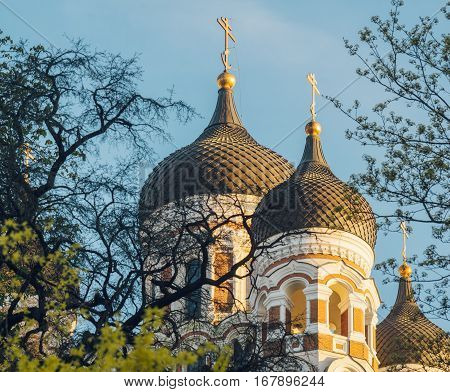 Alexander Nevsky Cathedral on sunny springtime morning Tallinn Estonia