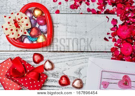 Valentine's day and Sweetest day love concept. Holiday background with copy space.