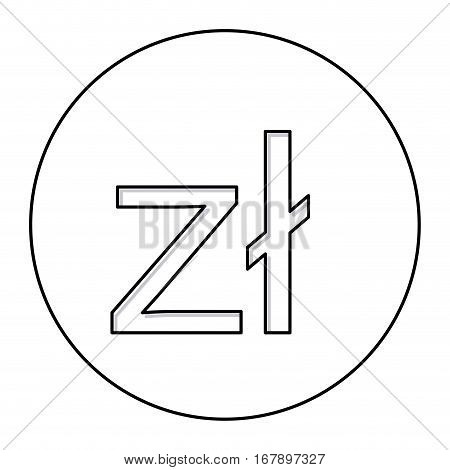 monochrome contour with currency symbol of poland zloty in circle . Vector illustration