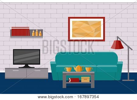 Living room flat Interior. Vector background. Home design with furniture couch coffee table TV picture.