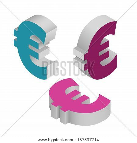 Symbol euro currency. Isometric icons on white background. Vector 3d illustration.
